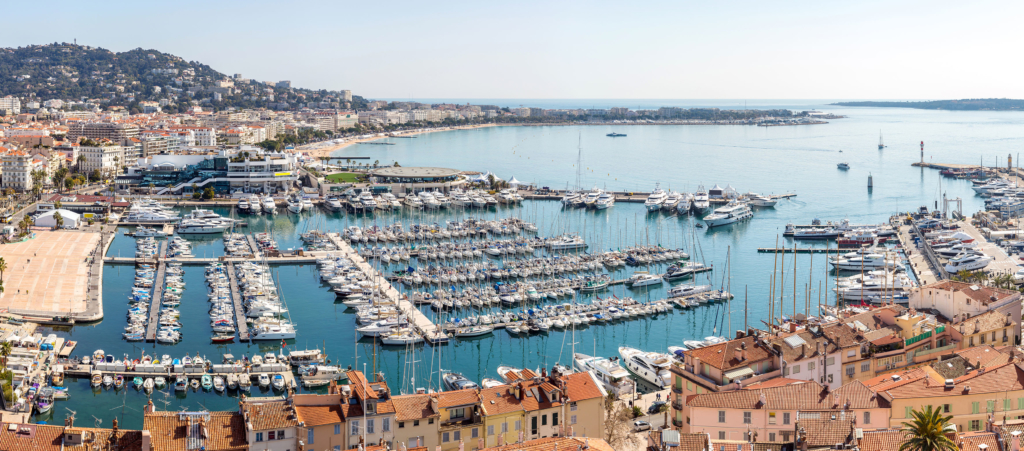 aerial view of Le Suquet- the old town and Port Le Vieux of Cannes, France Panorama