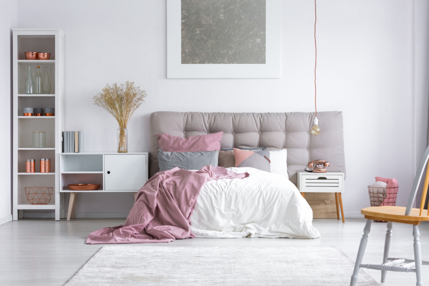 Metallics and pastels in the bedroom interiors trends