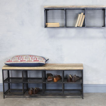 Utility room industrial storage bench notonthehighstreet