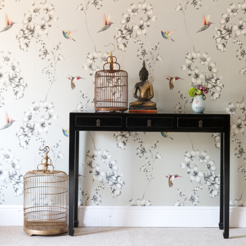 Oriental style black mandarin console Orchid Furniture