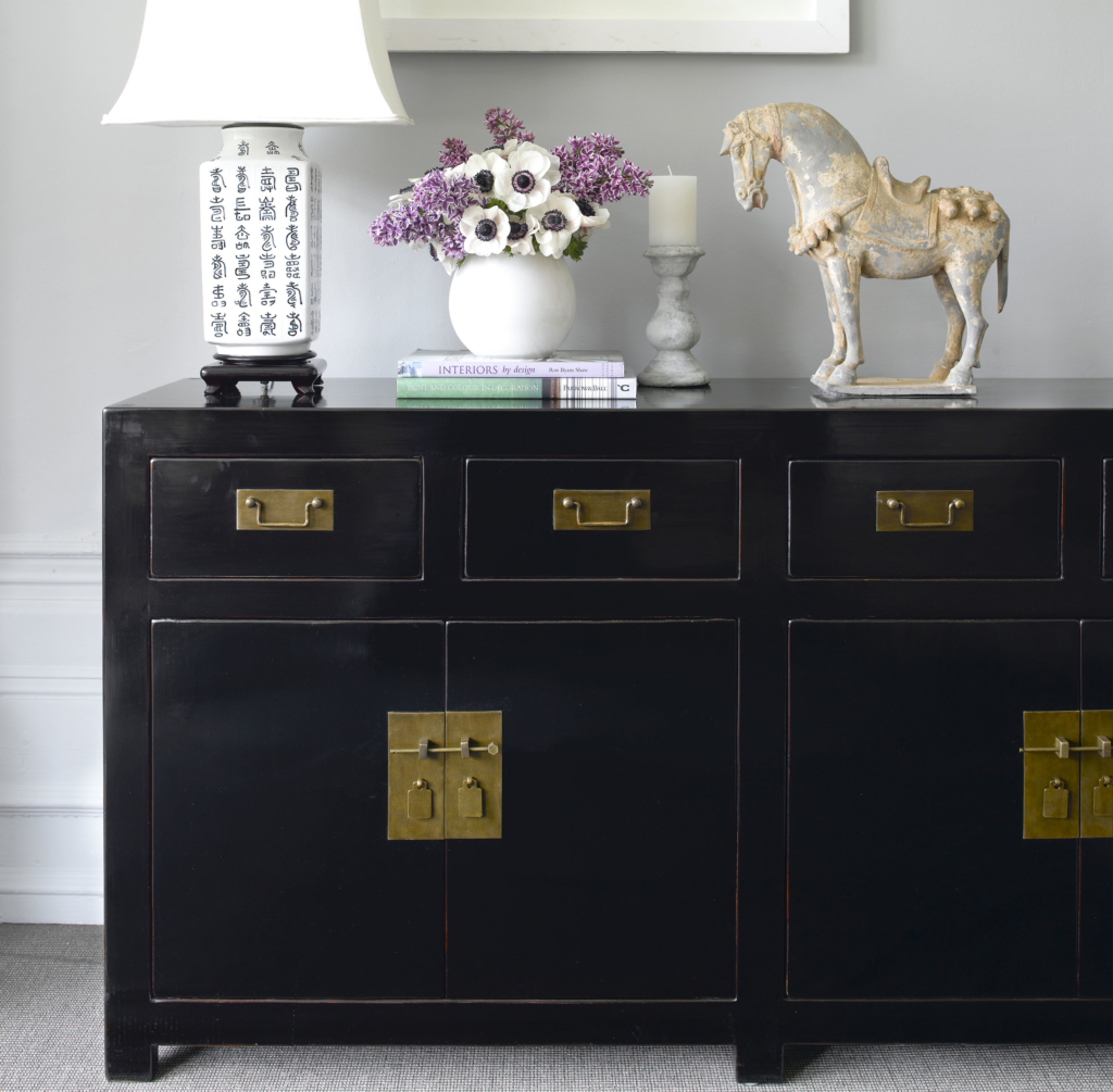 Oriental style black sideboard Orchid Furniture