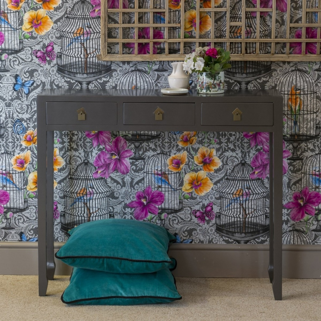 Oriental style grey console table Orchid Furniture