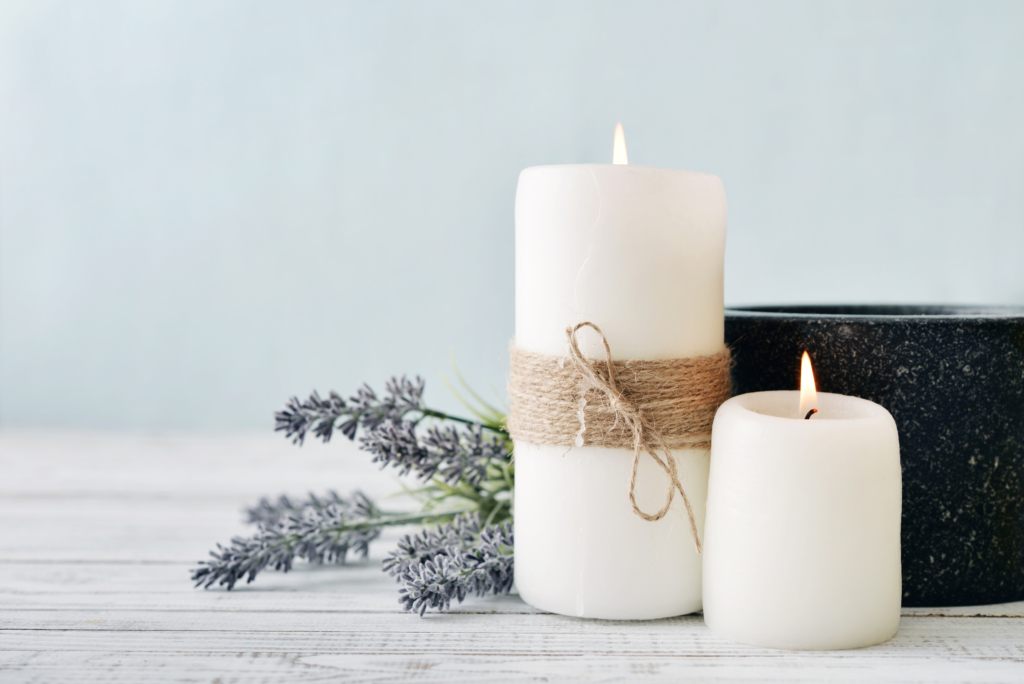 Spa Candles with lavender light up