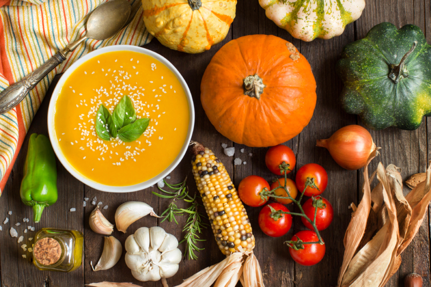 Autumn food Fresh pumpkin soup and vegetables