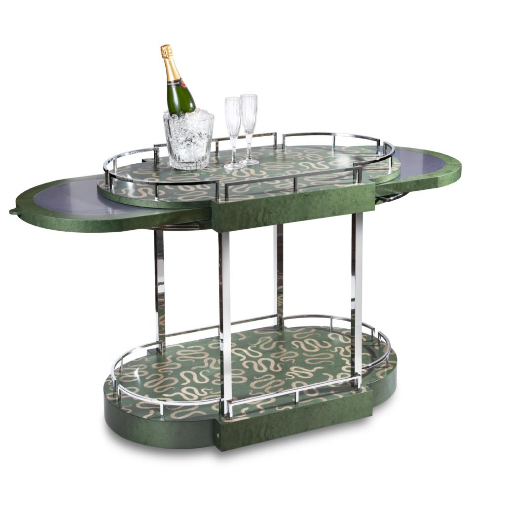 Furniture makers Zelouf & Bell serpents bar cart