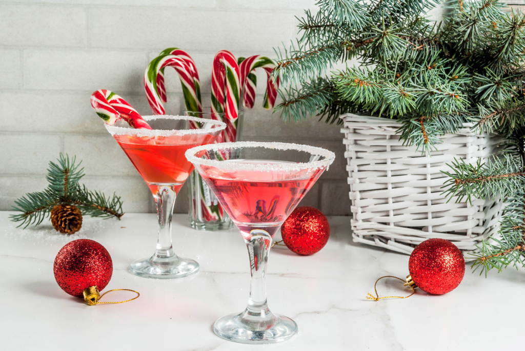 avoid stress at Christmas excess alcohol Christmas pink peppermint martini