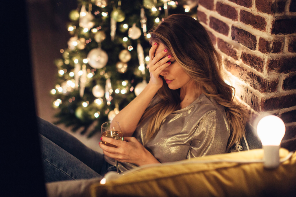 avoid stress at Christmas anxious woman