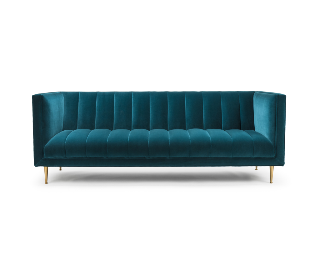 furniture maker Fleure Sofa in Kingfisher green cotton velvet_Stuart Scott
