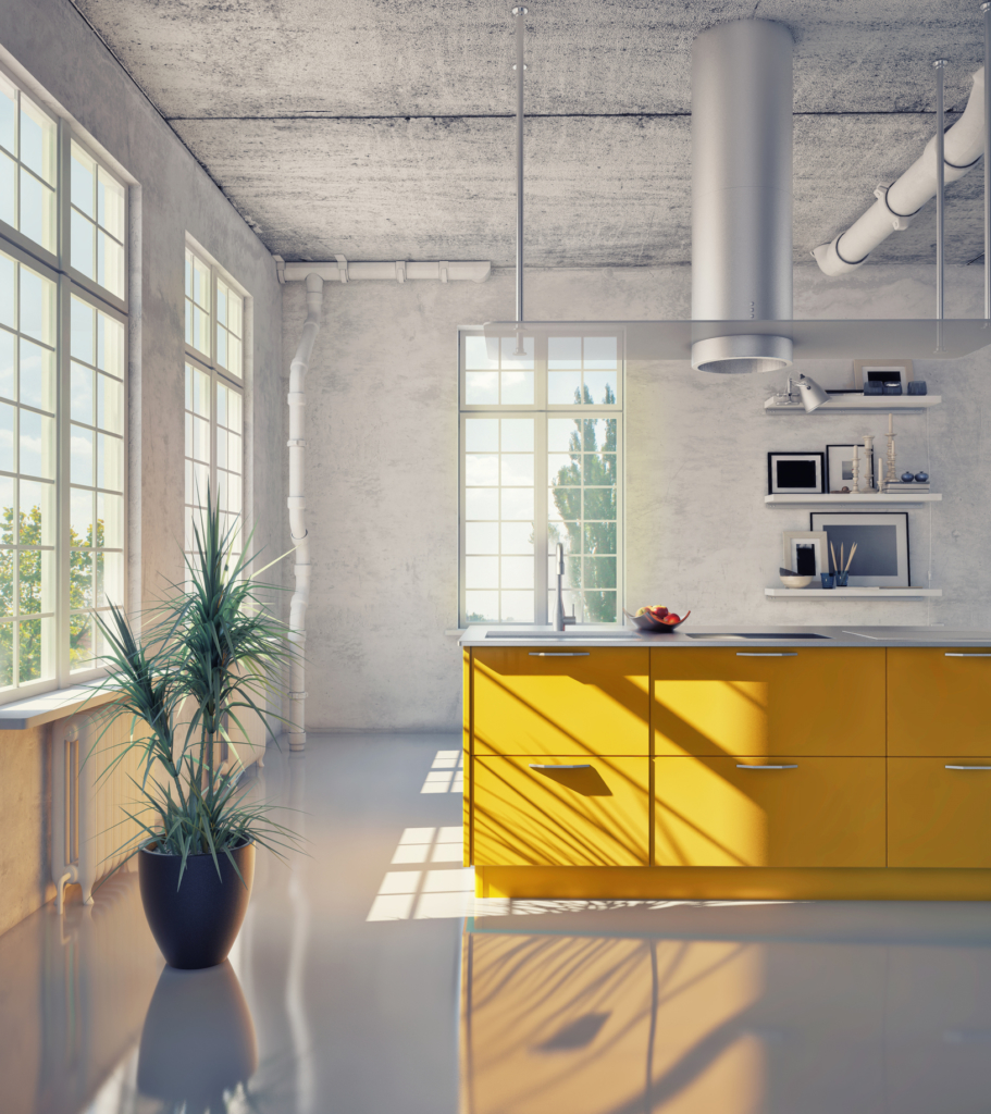 Kitchen design yellow kitchen