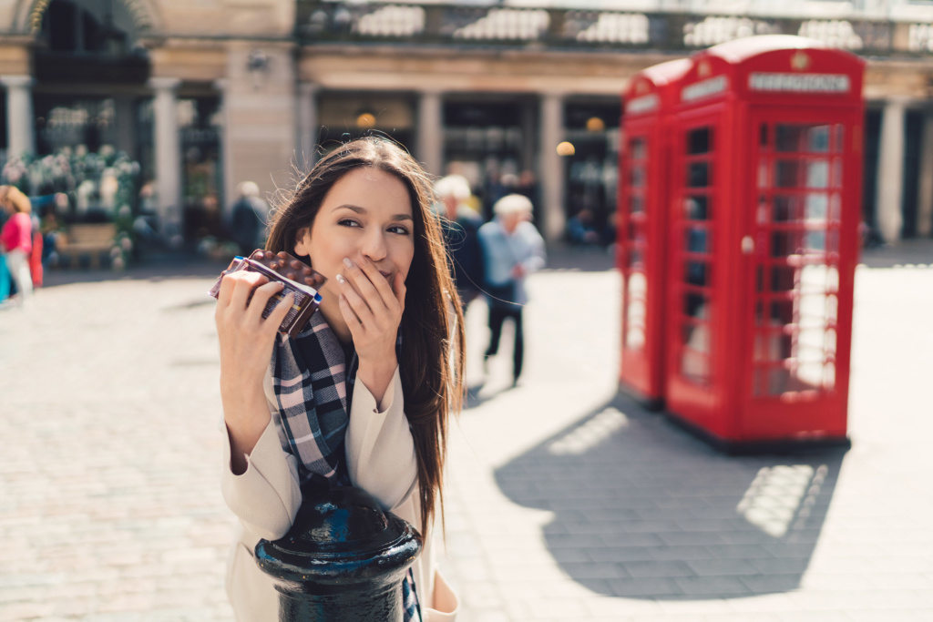Eating chocolate in London