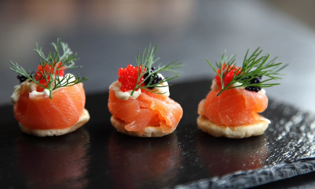 Christmas canapes smoked salmon blinis