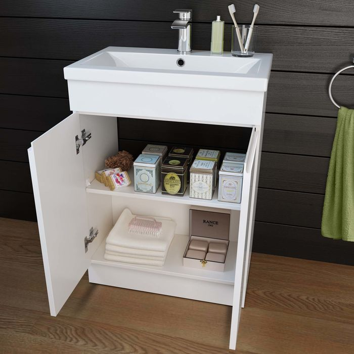 cloakroom 600mm-trent-high-gloss-white-basin-cabinet-floor-standing-front-MV806-v1