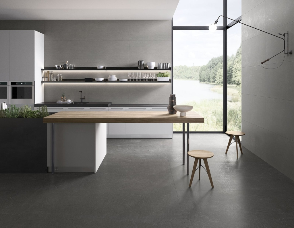 kitchen flooring RAK Ceramics Mix project spatolato porcelain tiles