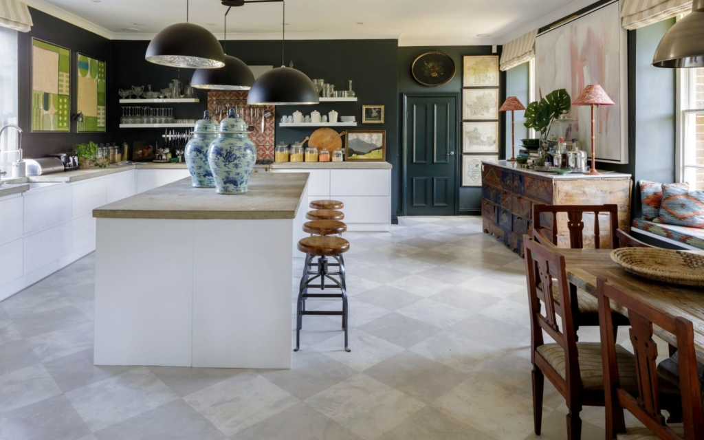 kitchen flooring VSP Interiors concrete flooring as seen in the Telegraph