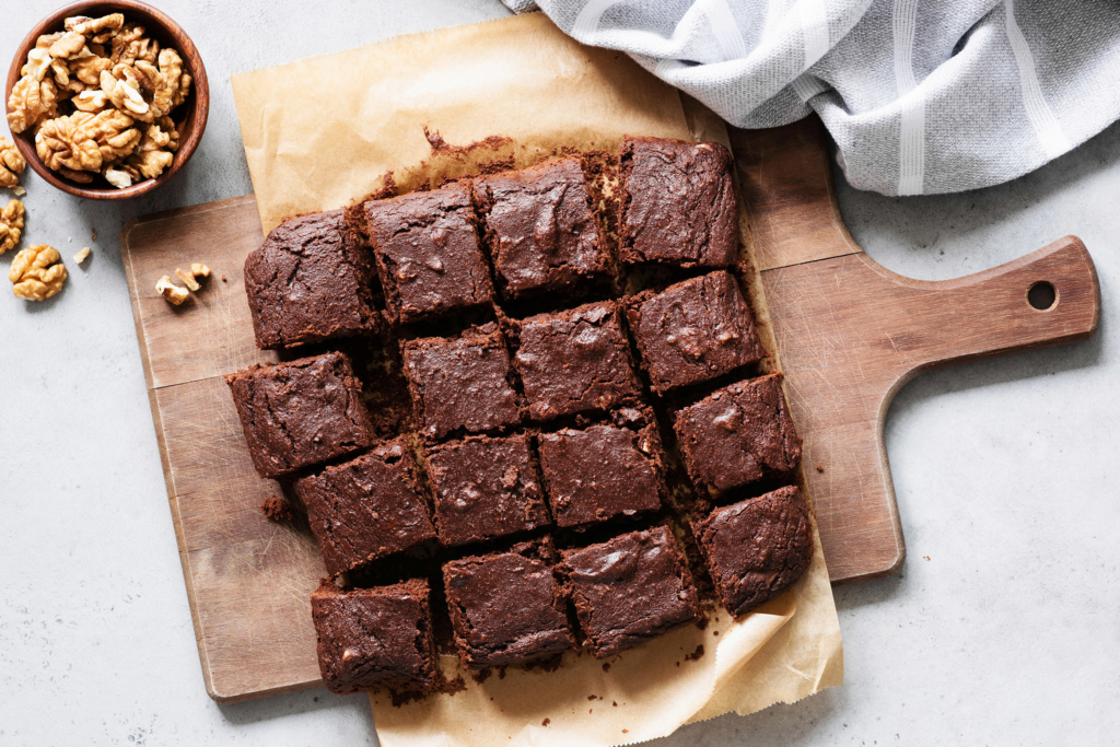 Easter recipes Chocolate brownie squares on cutting board