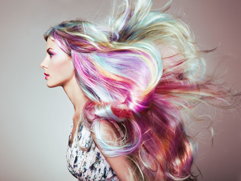 hairdresser Beauty fashion model girl with colorful dyed hair