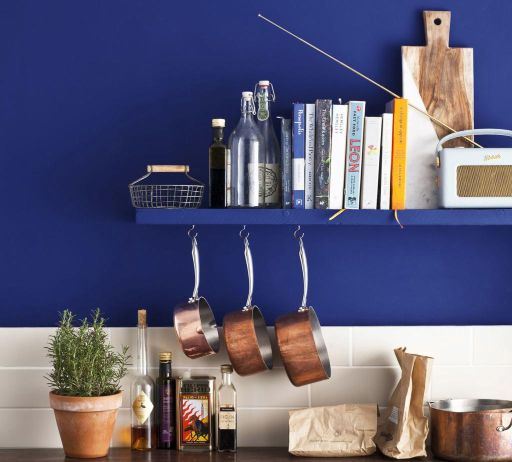Choosing paint colours Napoleonic Blue Annie Sloan kitchen shot