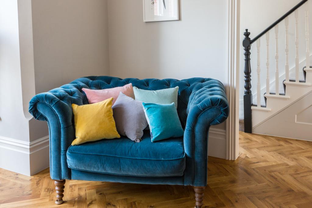velvet cushions collection on velvet armchair