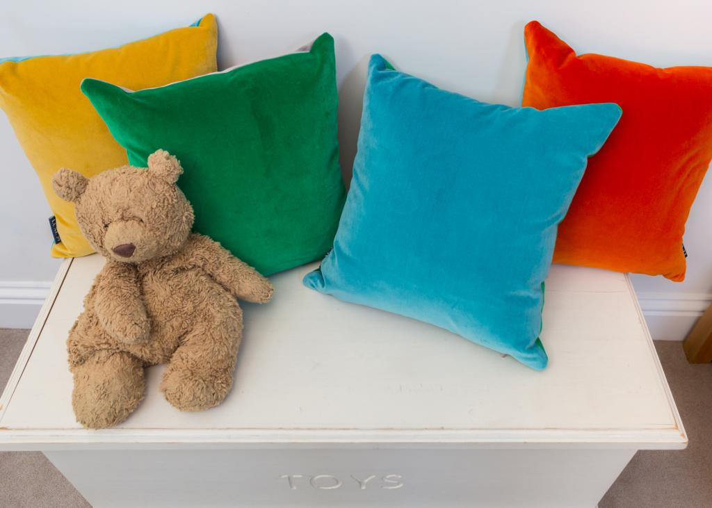 velvet cushions in a child's room