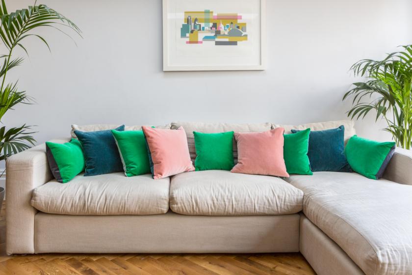 velvet cushions beautiful sofa shot