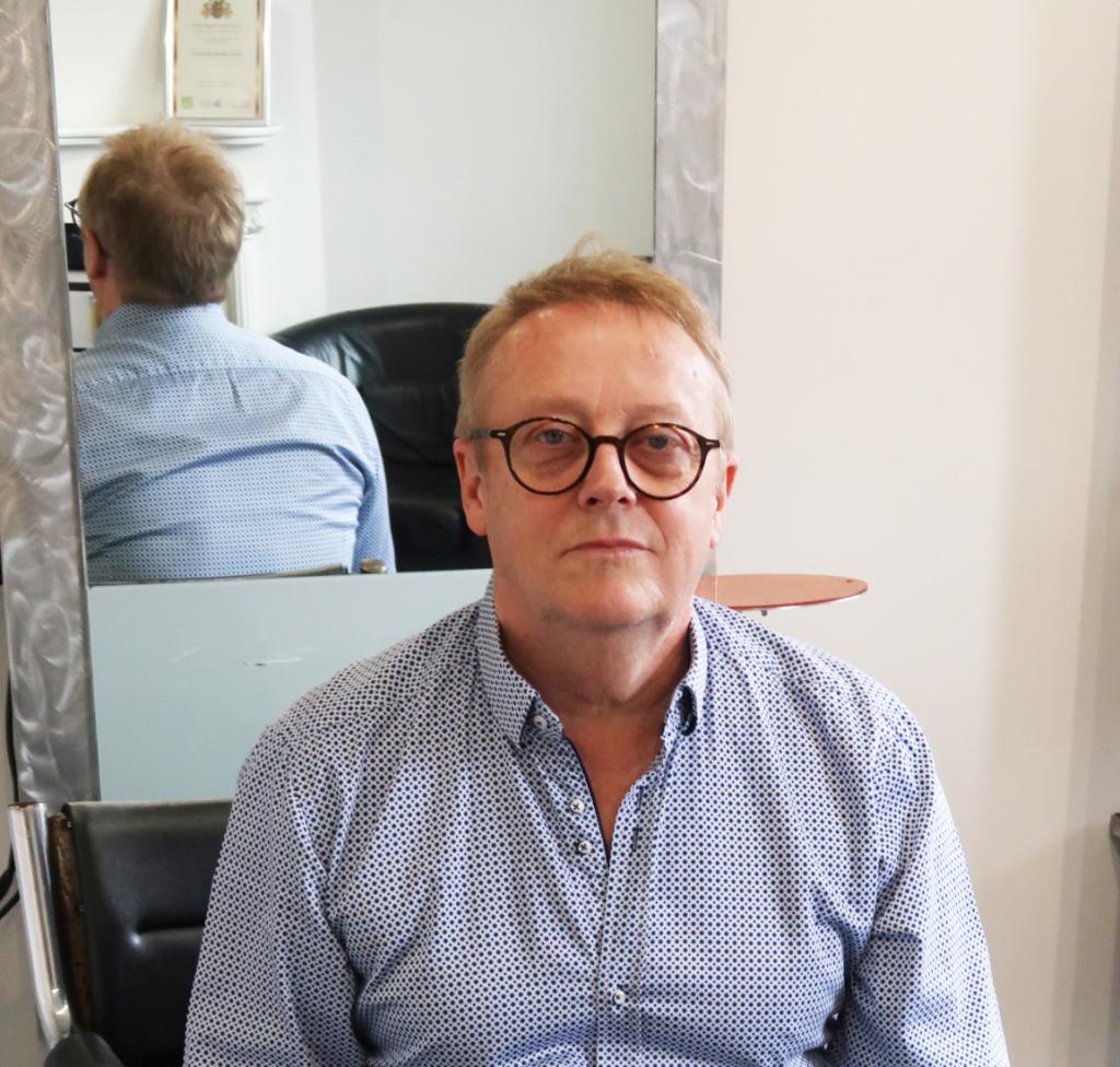 Hairdresser Jason Ball in John Olivers salon
