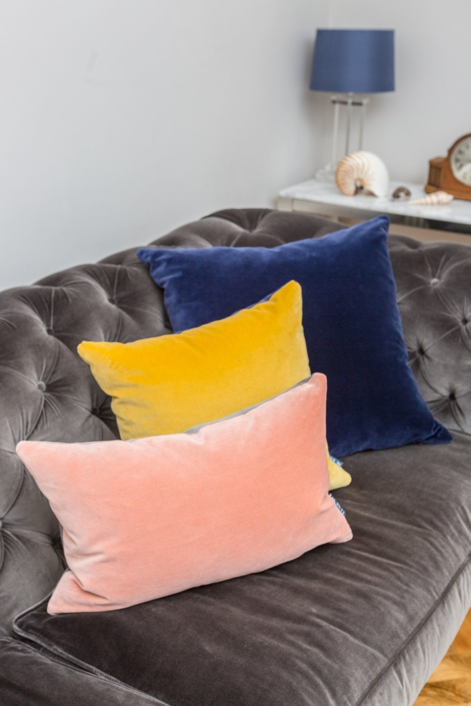 velvet cushions pink yellow and blue
