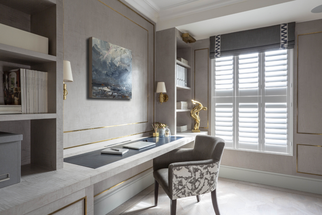STUDY AT KENSINGTON TOWNHOUSE WITH CUSTOM FITTED JOINERY IN FIGURED SYCAMORE VENEER WITH BRASS METAL INLAY interior designer Henry Prideaux