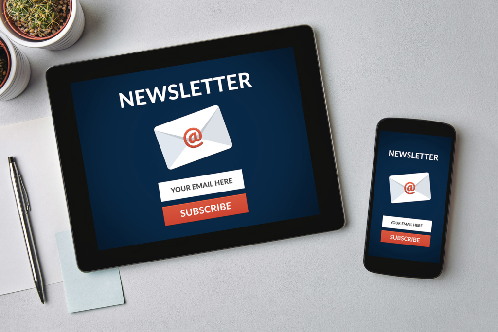Subscribe newsletter concept on tablet and smartphone screen