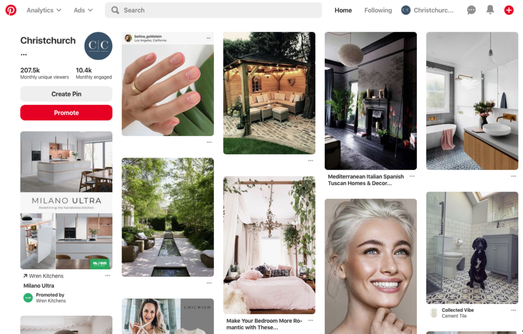 Christchurch Creative Pinterest for business social channel