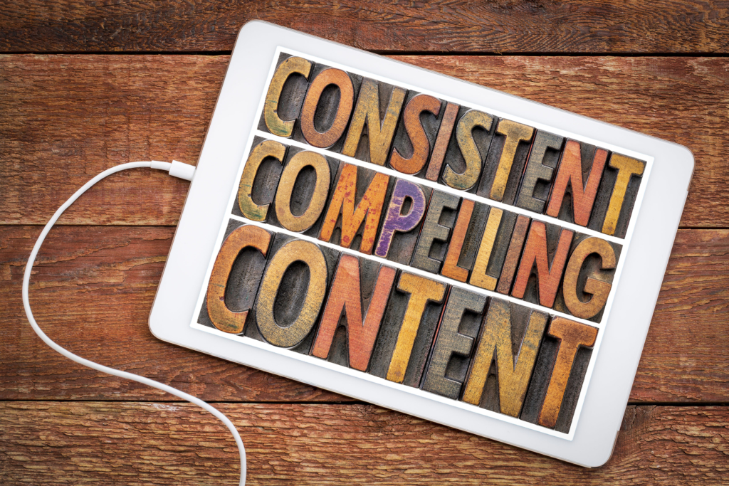 content marketing consistent, compelling content on tablet