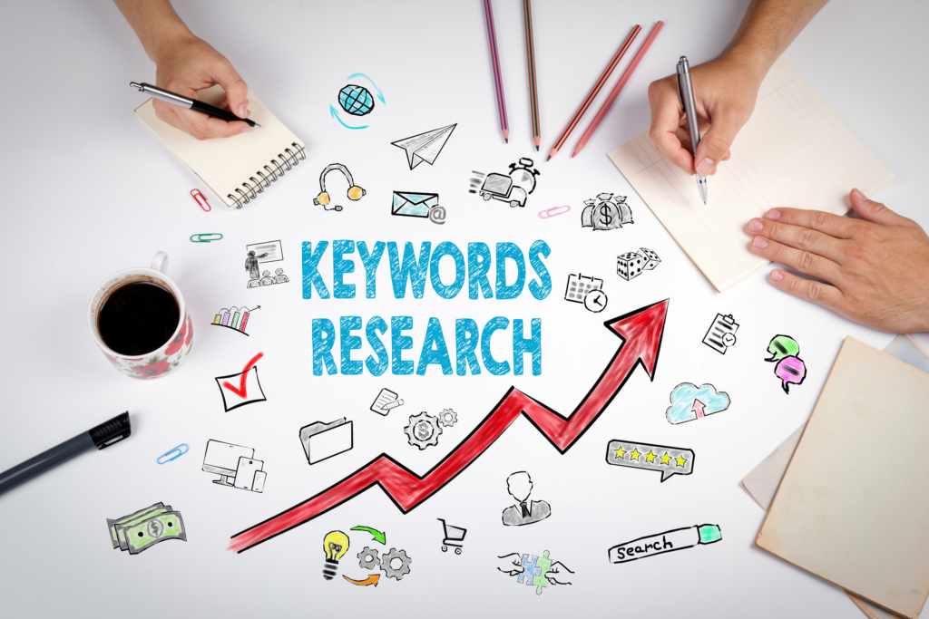content marketing Keywords Research Business Concept. The meeting at the white office table