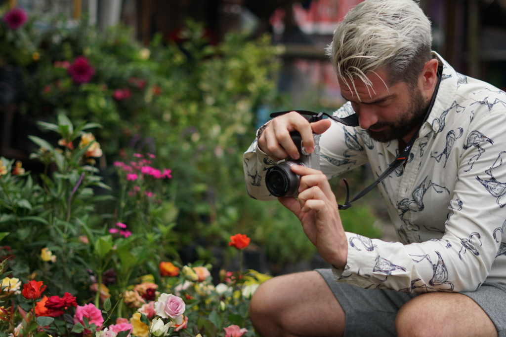 tv gardeners Michael Perry shooting flowers