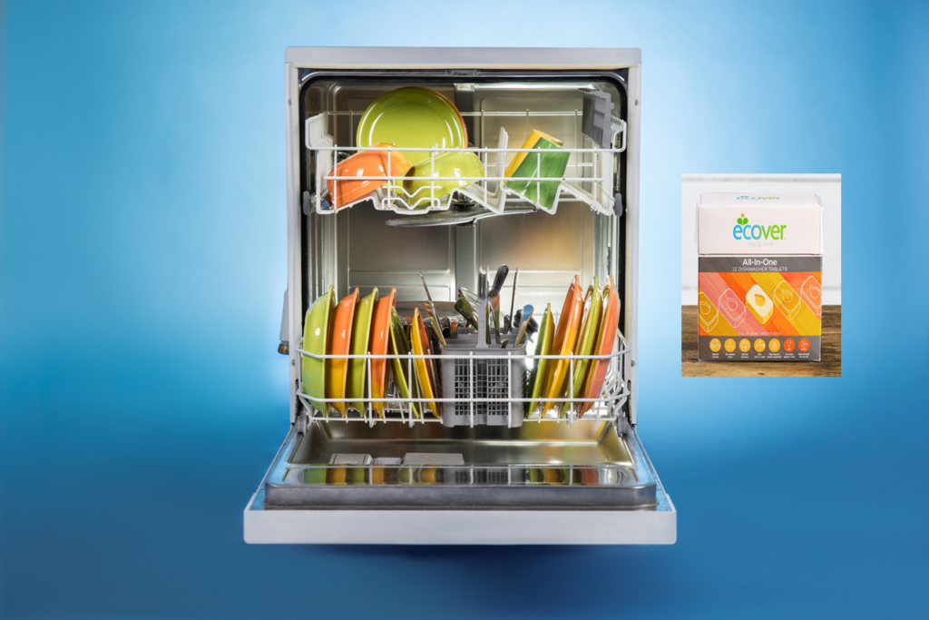 eco-friendly cleaning products Ecover all in one dishwasher tablets and Dishwasher Full Of Utensils