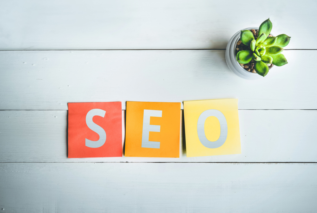 How to improve SRO rankings coloured SEO letters on white background