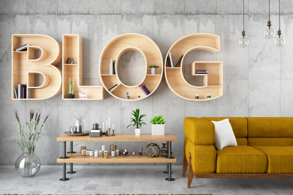 inbound marketing Retro Blog Bulb Sign with Leather Armchair