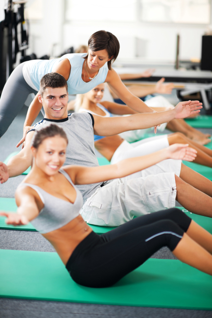 Pilates classes on the mat during a holiday retreat