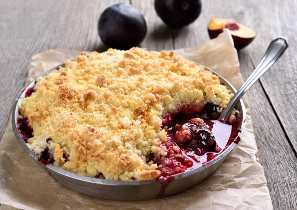 autumn recipe ideas Plum crumb baking