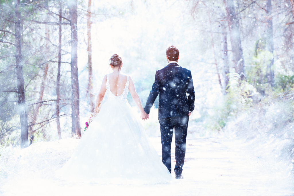 winter weddings Wedding Couple on snow
