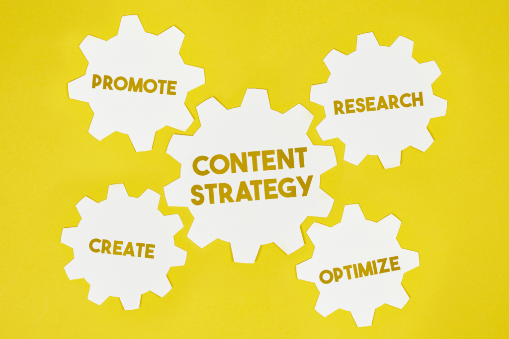 marketing blog content strategy gears concept