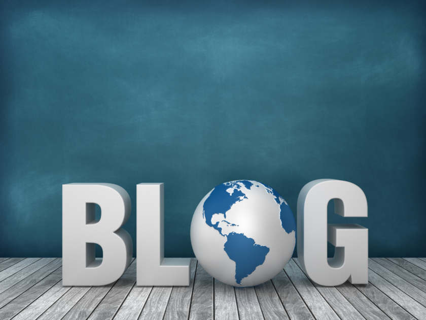 marketing blog 3D Word BLOG with Globe World