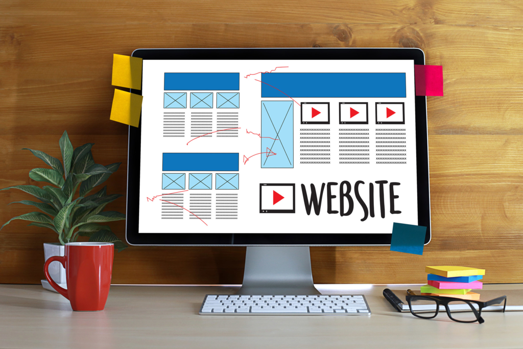 Web Design content creation on computer screen