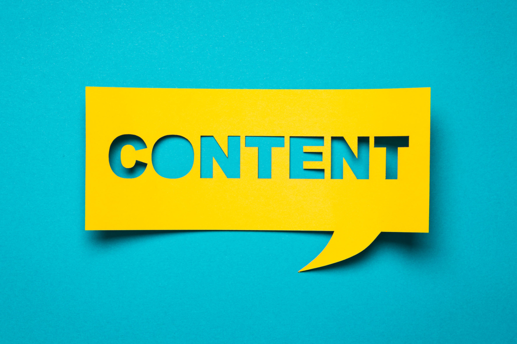 website content on a yellow banner