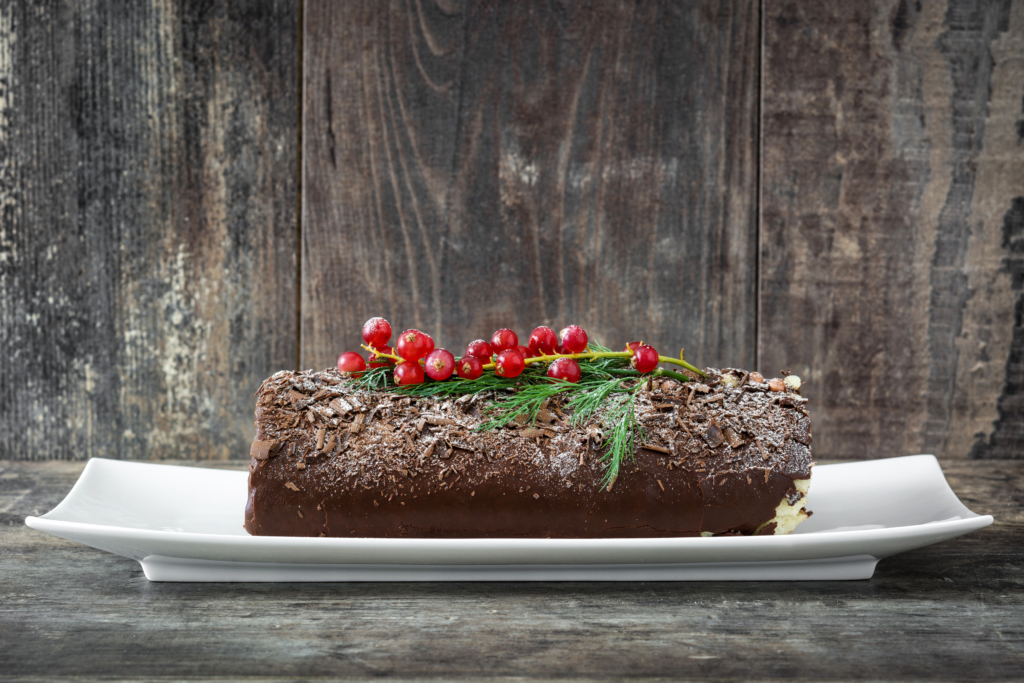 Christmas desserts chocolate yule log cake