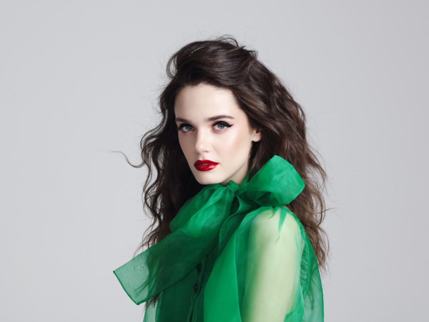 fashion trends 2020 Beautiful young woman in green shirt