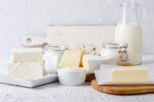 Fresh organic dairy products for a balanced diet