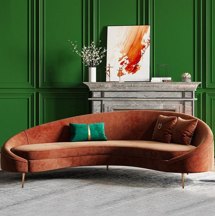 Interior design trends 2020 Homary bronze velvet curved sofa