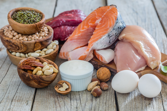 Selection of food for weight loss with protein for a balanced diet