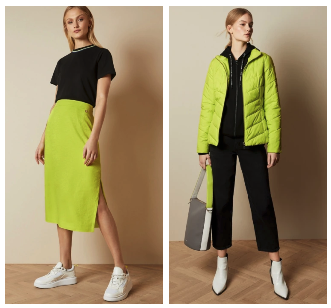 fashion trends 2020 Ted Baker neon brights skirt and jacket