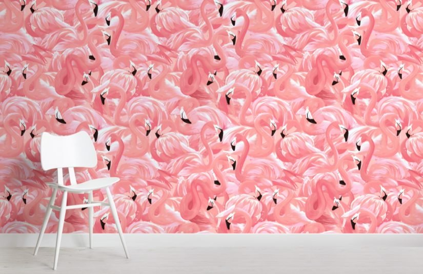 Blush pink-flamingo-bird-pattern-wallpaper-mural-Room £37 per sq m