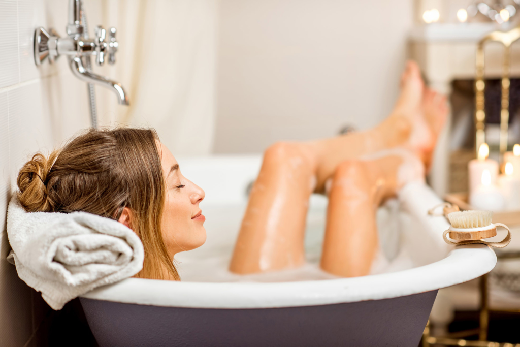 Woman in a hot bath relaxing